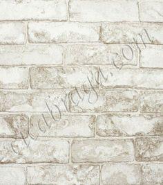 Papel de Parede Vinílico Modern Rustic (Americano) - Tijolo (Branco/ Cinza/ Tons de Bege) - COLA GRÁTIS