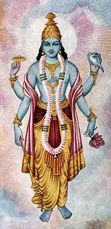 "Vishnu-- (Sanskrit: Viṣṇu) is one of the most significant deities in Hinduism. He is the Supreme god Svayam Bhagavan of Vaishnavism (one of the principal denominations of Hinduism).[1] He is also known as Narayana and Hari. As one of the five primary forms of God in the Smarta tradition, he is conceived as ""the Preserver or the Protector"""