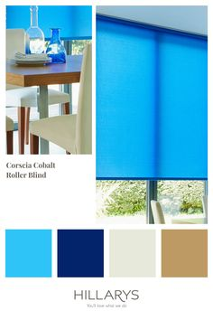 Corsica Cobalt is an utter delight. Think of the warm Mediterranean seas from which it takes its name, and you feel transported to the island paradise, ready to bask under its warm sun, or take a dip in its blue waters. Bring the mediterranean seas into your windows with our roller blinds, view our range. Blue Roller Blinds, Blue Roman Blinds, Blue Vertical Blinds, Stairs In Living Room, Striped Room, Blue Interiors, House Blinds, Blackout Blinds, Style Challenge