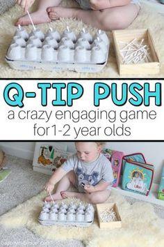 Q-tip Push: A Fun Baby Activity - baby aktivitäten - Baby Activities Activities For 1 Year Olds, Toddler Learning Activities, Games For Toddlers, Baby Learning, Montessori Activities, Infant Activities, Fun Activities, 1year Old Activities, Montessori Toddler