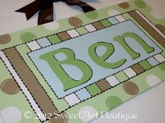 Items similar to Personalized Custom green tan brown Stripes White dots CUSTOM Canvas letter name sign wall art hanging decor boy monogram on Etsy Canvas Letters, Canvas Art, Craft Business, Business Ideas, Playhouse Bed, Baby Door Hangers, Baby Keepsake, Custom Canvas, Canvas Ideas