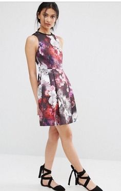 Oasis Summer New Dress Multicolor WINTER FLORAL SKATER Multicoloured Size L 16UK  | eBay Skater Style Dress, Floral Skater Dress, Oasis Dress, New Dress, Asos, Summer Dresses, Winter, Shopping, Ebay