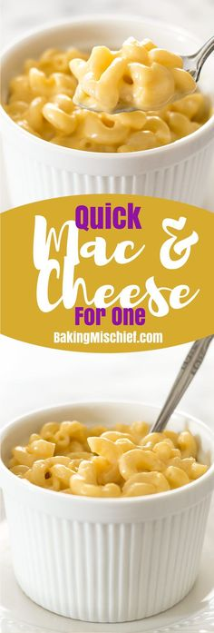 A quick recipe for mac and cheese for one. Easy, cheesy, and oh so good. Recipe includes nutritional information. From http://BakingMischief.com