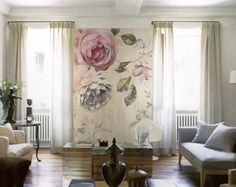 Fresh Watercolor Floral Wallpaper Vintage Roses by DreamyWall