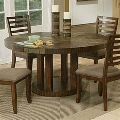 Slate Dining Table | Alpine Medium Brown Round Dining Table With Natural  Slate Tiles