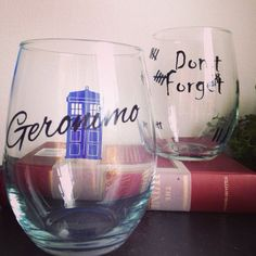 Geronamo and Don't forget glass set stemless wine by SimplyGlassic, $21.00 #doctorwho Doctor Who wine glass