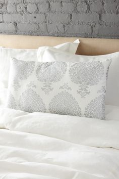 Vintage Chic Linen Bedding India Medallion Linen Pillow