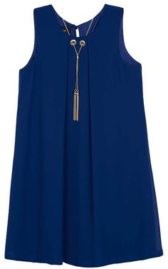 c9a0b06168c IZ Amy Byer Girls 7-16 IZ Amy Byer Solid A-Line Shift Dress with Grommets    Necklace