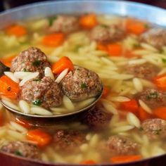 Soupe nourrissante aux boulettes à l'italienne Best Picture For Italian Recipes starter For Your Taste You are looking for something, and it is going to tell you exactly what you are looking for, and Grape Recipes, Soup Recipes, Cooking Recipes, Healthy Recipes, Italian Snacks, Italian Recipes, Baked Meatball Recipe, Meatball Recipes, Recipe Chicken