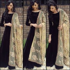 Indian Bollywood Ethnic Designer Anarkali Salwar Kameez Suit & Traditional HBJP in Clothes, Shoes & Accessories, Women's Clothing, Other Women's Clothing Indian Attire, Indian Wear, Black Indian Gown, Pakistani Outfits, Indian Outfits, Party Wear Indian Dresses, Indian Clothes, Party Dresses, Asian Fashion