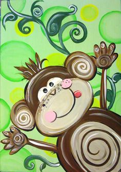 monkey cute! I could so draw and paint this!!