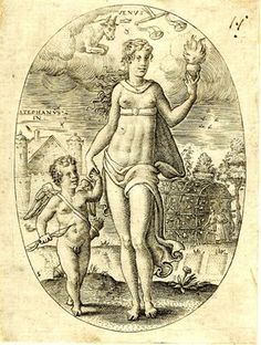 A French engraving, 1576, showing the Roman goddess and planetary personification, Venus, holding a burning heart, standing in a landscae with Cupid; in the upper part, the zodiacal signs governed by Venus, Taurus and Libra. (British Museums)