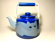 MARTIN LEMAN VINTAGE MODERNIST BLUE/ WHITE ENAMEL PERSIAN CAT TEA KETTLE MID-CENTURY  (sold) #MartinLemanenamelteakettle