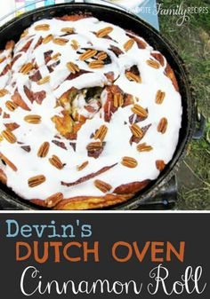 Dutch Oven Cinnamon Roll! Be the hit at your next campout when you make this giant cinnamon roll for a delicious breakfast or dessert!