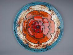 XL Ruscha wall plate flower vintage German ceramics by casa2casa