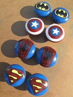 Superhero nursery Superhero Dresser Knobs by HawkesHollow on Etsy Big Boy Bedrooms, Kids Bedroom, Bedroom Ideas, Nursery Ideas, Marvel Bedroom, Spiderman Bedrooms, Batman Bedroom, Avengers Room, Superhero Room