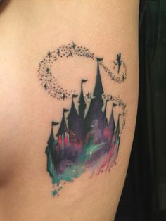 My Disney Castle watercolor tattoo