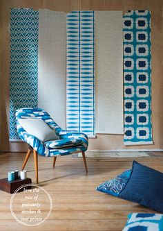 Scion Textile - loving the mediterranean brights and use of pattern in same colour palette. Comfy & contemporary