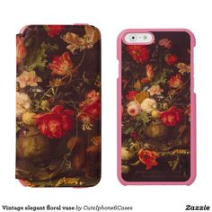 Do you want to make your own unique Vintage elegant floral vase iPhone 5/ SE/ 5C/ 6/6s wallet case that ready purchased or customized?