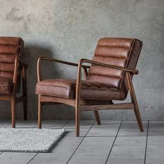 Retro Brown Leather Armchair