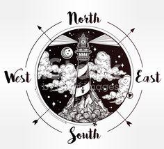 Decorative vector lighthouse compass illustration royalty-free stock vector art