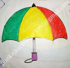 Easy umbrella painting with oil pastel by Pankaj karmakar Tiger Drawing For Kids, Drawing Classes For Kids, Scenery Drawing For Kids, Easy Painting For Kids, Simple Oil Painting, Children Painting, Painting People, Small Easy Drawings, Drawing For Beginners