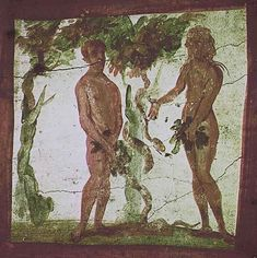 Adam and Eve and the Serpent, Fourth Century Fresco at Catacomb of St Piretro and St. Marcellino, Rome.