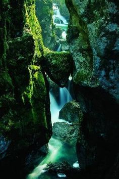 "Tolmin Gorge, Slovenia - I pretty much have this same picture, not nearly as pretty though. I believe its called ""Bear's Head"" being the shape of the rock stuck between kinda looks like a bear. Places To Travel, Places To See, Wonderful Places, Beautiful Places, Slovenia Travel, Destination Voyage, Holiday Travel, Travel Pictures, Wonders Of The World"