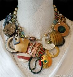 A necklace made from buttons and belt buckles.  Vintagely gorgeous.  L3762 ~ purchase at anthillantiques.com