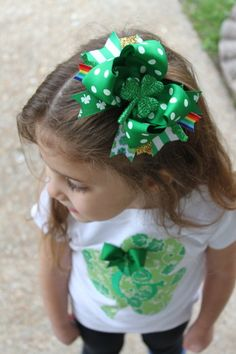 St. Patrick's Day Bow  large 5 bow  by DarlingLittleBowShop, $11.95