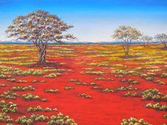 The desert blooms. Australian Desert, Australian Art, Australian Painting, Good Morning Flowers, Landscape Paintings, Acrylic Paintings, Painting Art, Crafts To Do, Love Art