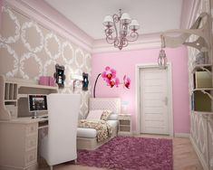 Flowers Wall Stickers and Pink Themes Design