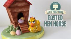How to make an Easter hen house cake topper to hold your mini eggs! :) In this video I use Renshaws modelling paste and some birdhouse cutters by Fmm, the wo. Mini Eggs Cake, Egg Cake, Mini Cakes, Cookie House, House Cake, Cake Topper Tutorial, Fondant Tutorial, Zoes Fancy Cakes, Peter Rabbit Cake