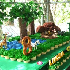 Check out these cupcakes at a Jungle birthday party!   See more party ideas at CatchMyParty.com!  #jungle #partyideas