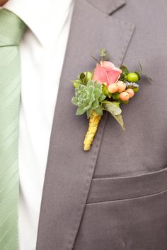 2014 Wedding Trends | Succulents | Succulent Boutonniere Inspiration |   Read more - http://www.stylemepretty.com/canada-weddings/2013/10/18/modern-art-gallery-styled-inspiration-shoot-from-hayley-photography/