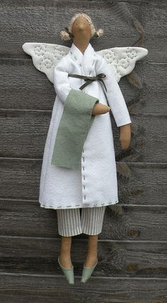 Tilda bathroom angel - sage green by countrykitty, via Flickr
