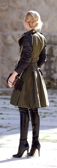 Over the knee, Dark Khaki Street Chic Trench by Oh My Vogue J-Elle Loves Fashion Everything Chic http:/www.j-elle.com