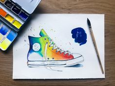 Watercolor Sketch, Watercolor Illustration, Sneaker Art, Banner, Dots, Wall Decor, Sketches, Clip Art, Rainbow