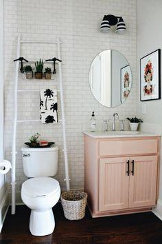 Bath Room Apartment Decoration Home Decor Ideas Girl Bathrooms, Small Bathroom, Bathroom Storage, Boho Bathroom, Bathroom Inspo, Bathroom Vanities, Girl Bathroom Ideas, Orange Bathroom Decor, Blush Bathroom
