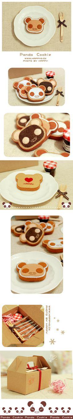 Panda toasts - happy0.cn (not in English) cute idea for feltie