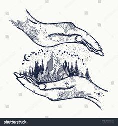 Mountains in hands, tattoo. Symbol of travel, tourism, meditation t-shirt design, surreal graphics Boho Tattoos, Nature Tattoos, Hand Tattoos, Sleeve Tattoos, Free Hand Tattoo, Meditation Tattoo, Hand Symbols, Symbolic Tattoos, Back Tattoo