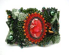 Christmas bracelet, Green bracelet, Beadwork bracelet, Beaded jewelry, Green cuff, Freeform bracelet, gifts for her
