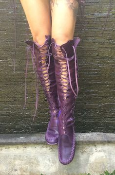 Blueberry Leather Knee High Boots