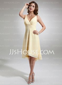 Bridesmaid Dresses - $99.99 - A-Line/Princess V-neck Asymmetrical Chiffon Bridesmaid Dress With Ruffle (007001144) http://jjshouse.com/A-Line-Princess-V-Neck-Asymmetrical-Chiffon-Bridesmaid-Dress-With-Ruffle-007001144-g1144