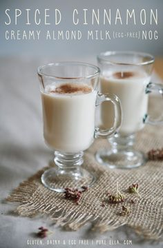 Spiced Cinnamon Creamy Almond Milk (egg-free) Nog - time for vegan christmas! Vegan Christmas, Noel Christmas, Christmas Goodies, Christmas Desserts, Christmas Decor, Vegan Sweets, Vegan Desserts, Holiday Drinks, Holiday Recipes