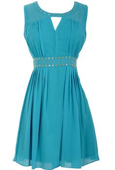 Gold Studded Chiffon Dress in Turquoise  www.lilyboutique.com
