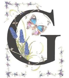 Grape Hyacinth and Genoveva Azure Butterfly (Stanza Widen) Alphabet Art, Alphabet And Numbers, Letter Art, Creative Lettering, Lettering Design, Hand Lettering, Stoff Design, Calligraphy Letters, Illuminated Letters