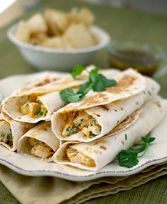 Crispy Chicken Wraps ~ I made these and they were delicious! I didn't add the cilantro to the chicken though.I added it on top of the chicken in the wrap. Crispy Chicken Wraps, Chicken Wrap Recipes, Mexican Food Recipes, Dinner Recipes, Dinner Ideas, Wrap Sandwiches, Hamburgers, So Little Time, Food For Thought