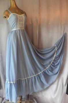 BOHO GUNNE SAX VICTORIAN PRAIRIE LACY 70s Vintage BLUE SUN MAXI DRESS SM/XS