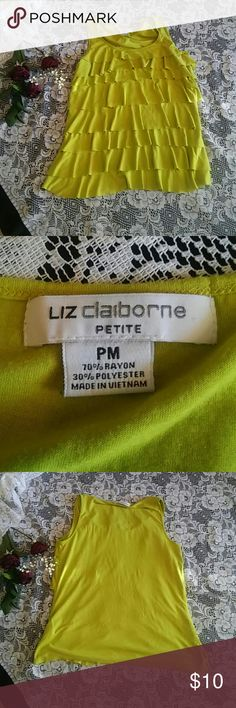 Liz Claiborne tiered shirt It's a green tank top with tiered layers on the front. Plain on the backside very cute excellent condition worn once. Liz Claiborne Tops